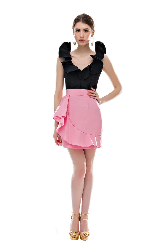 Pink Faille Flamenco Mini Skirt