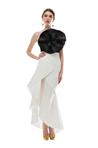 White Faille Flamenco Skirt