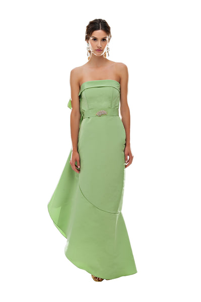 Green Flamenco Side Ruffle Dress