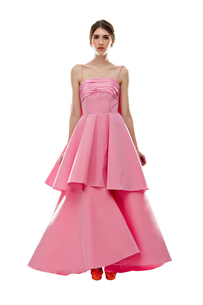 Pink Back Bow Ruffle Cinderella Gown