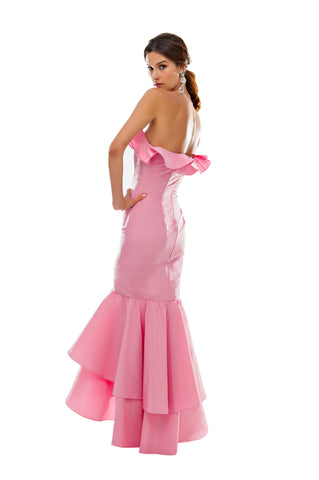 Pink Faille Double Ruffle Gown