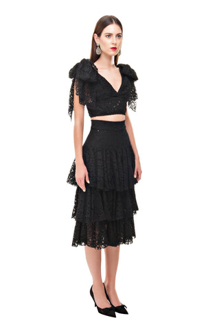 BLACK LACE RUFFLE MIDI SKIRT