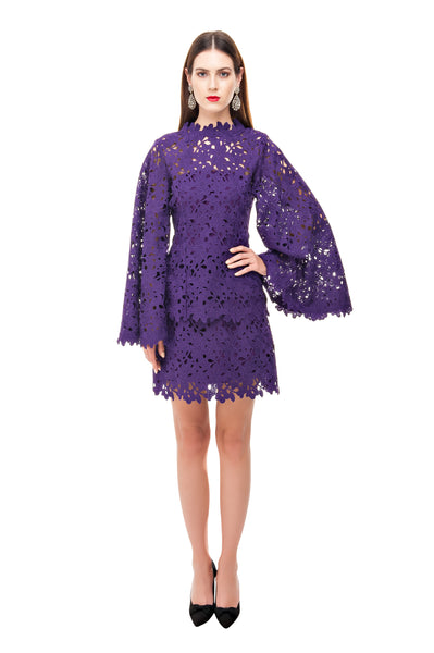 PURPLE LACE CROCHET BELL TUNIC