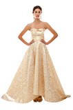 Gold Brocade Princess Gown