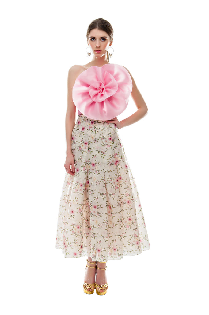 Rose Bud Pleated Midi Skirt