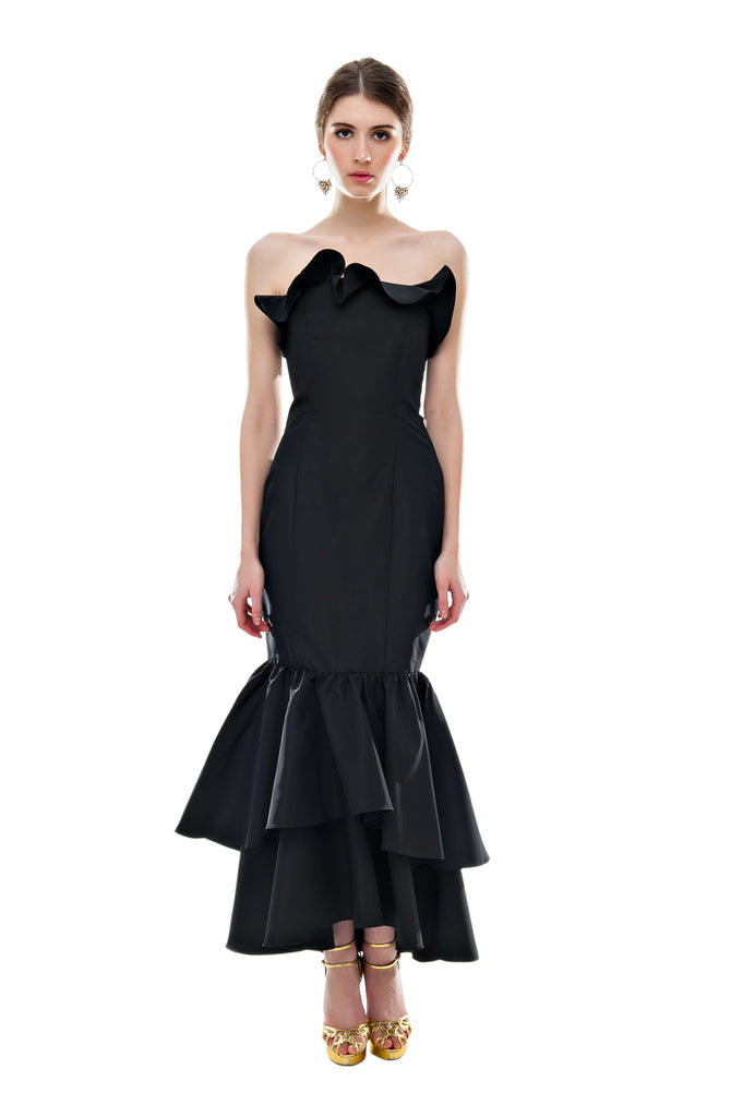 Black Faille Double Ruffle Gown