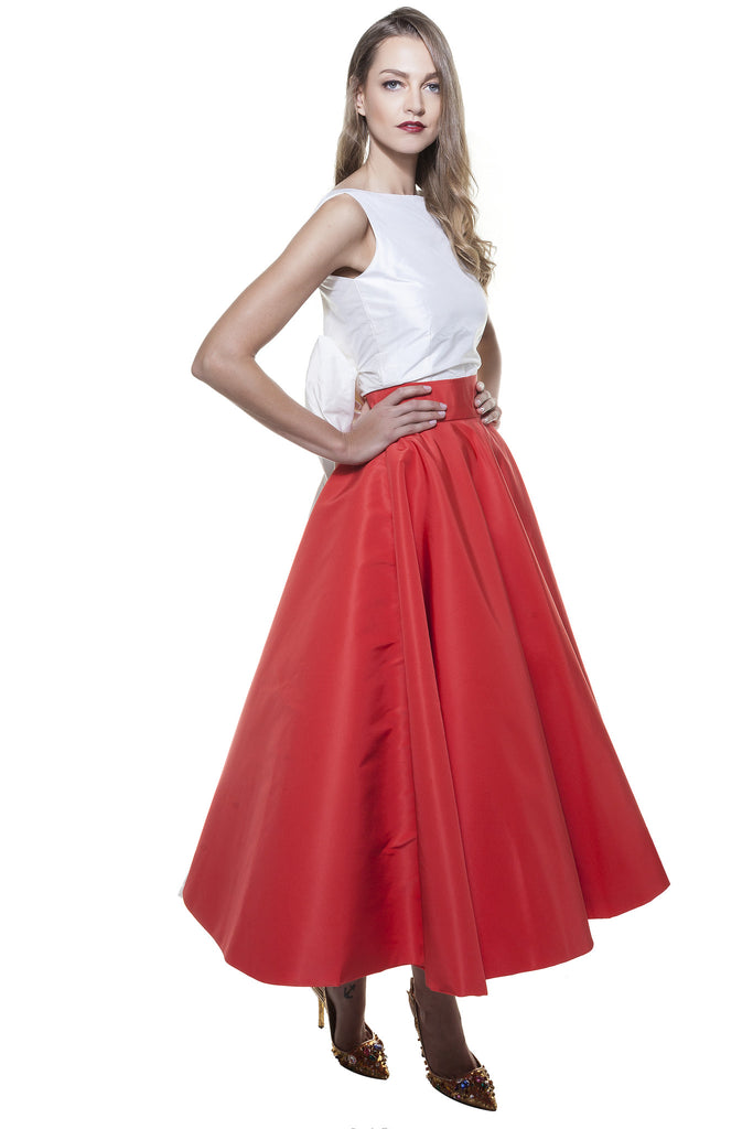 Red Faille Cinderella Midi Skirt