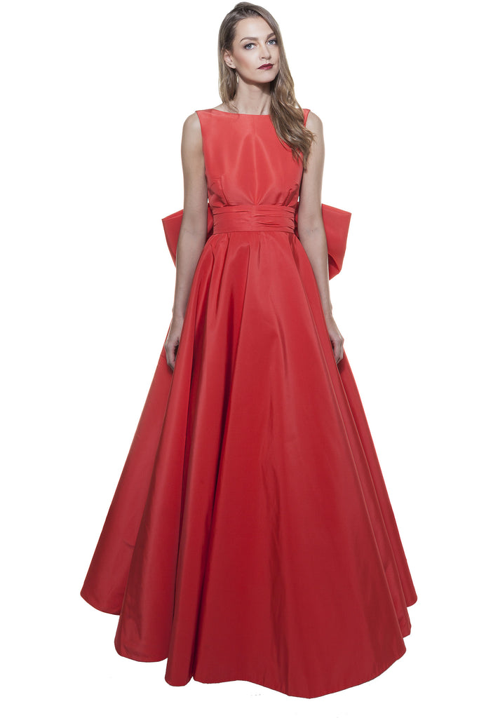 Red Faille Back Bow Gown
