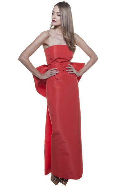Red Faille Pencil Bow Gown