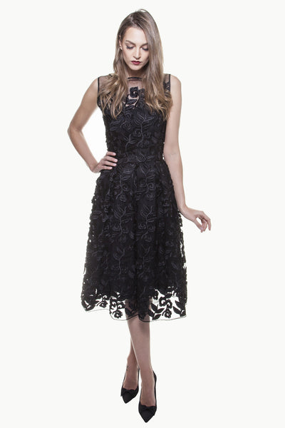 Black Tulle Embroidery Audrey Dress