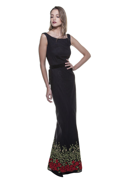 Black Rose Garden Sabrina Gown