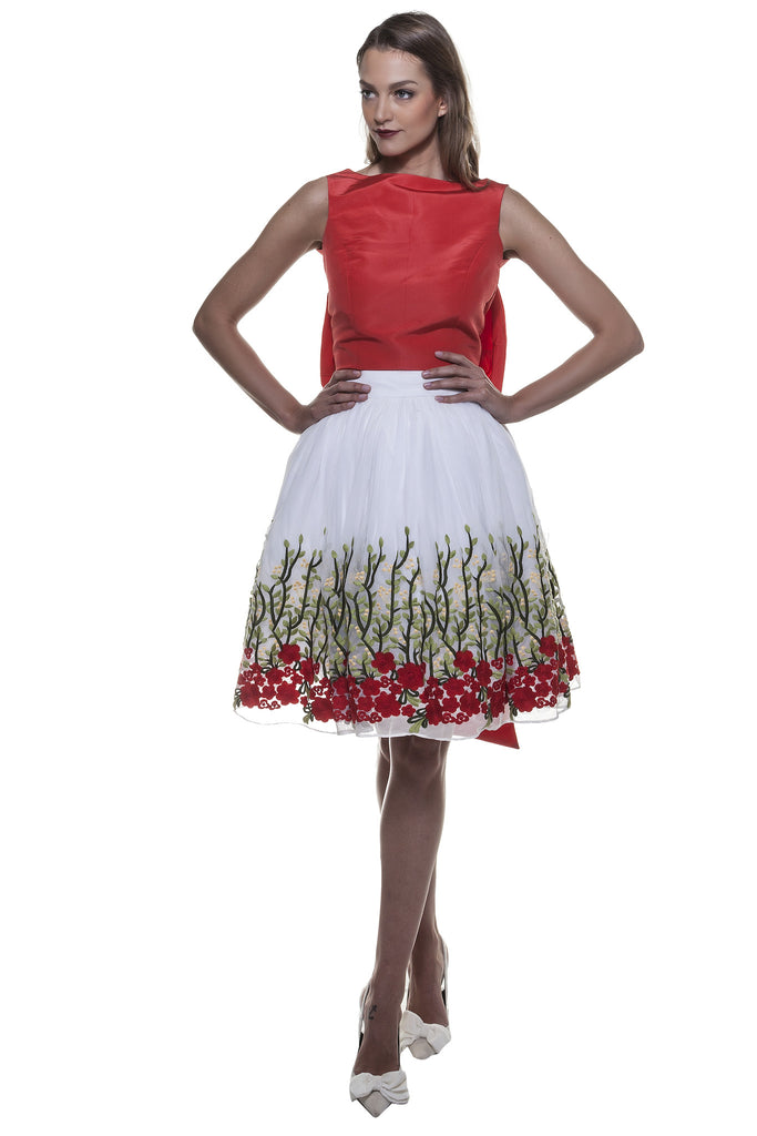 White Rose Garden Mini Skirt