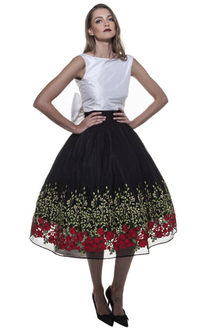 Black Rose Garden Midi Skirt