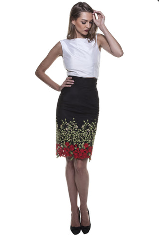 Black Rose Garden Pencil Skirt