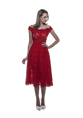 Red Lace Midi Skirt