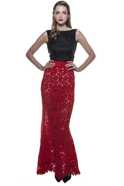 Red Lace Fish Tail Skirt