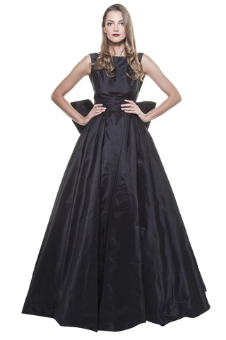 Black Taffeta Back Bow Gown