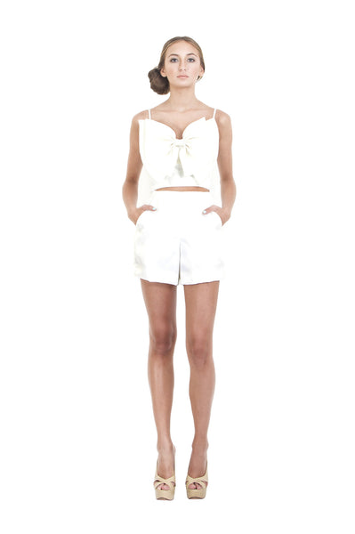 White Organza High Waist Shorts