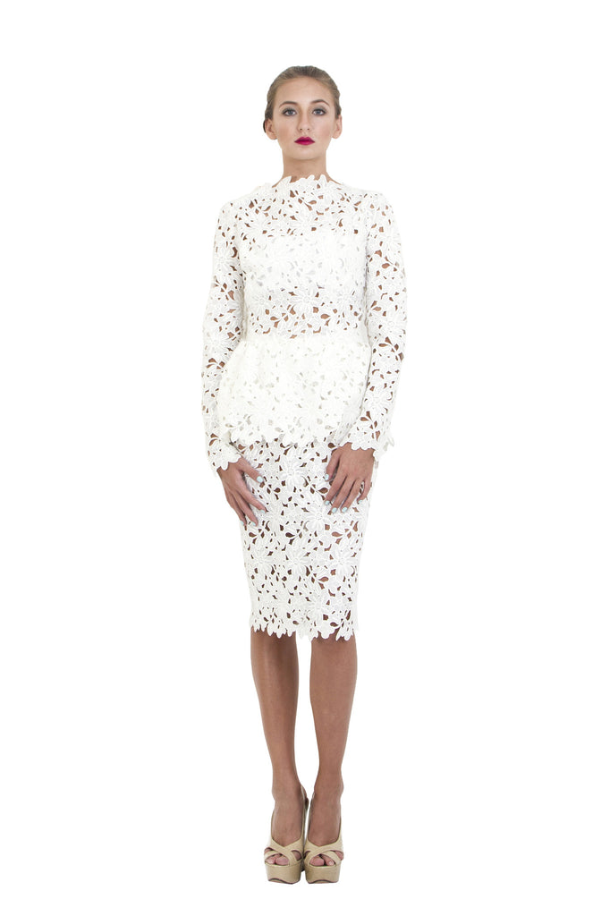 White Lace Crochet Peplum Dress Bambah