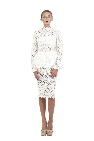 White Lace Crochet Peplum Dress