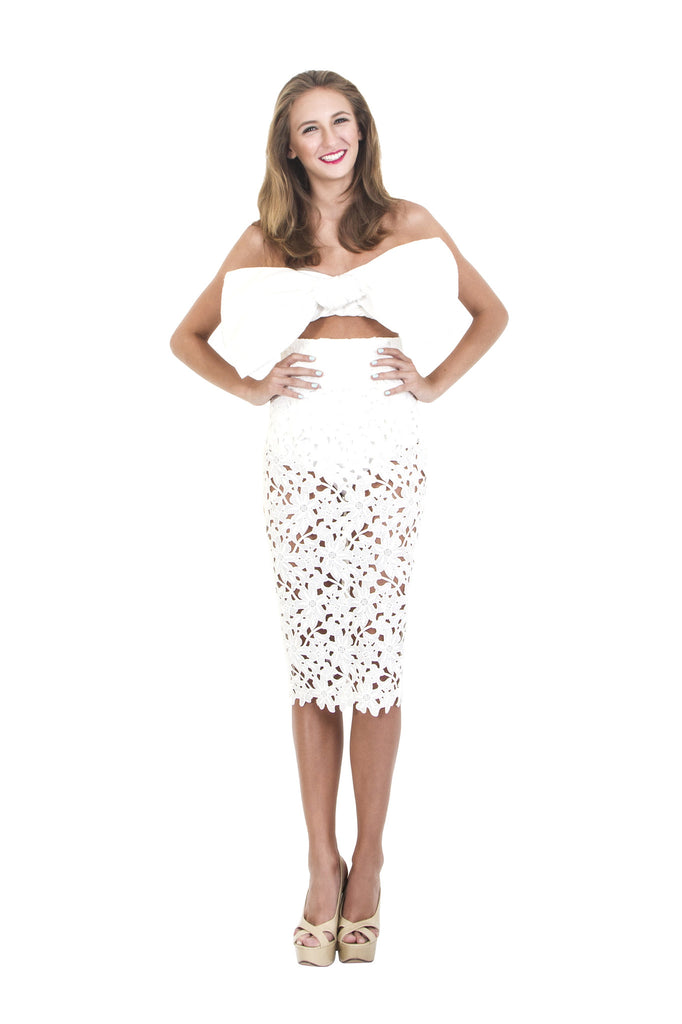 White Lace Crochet Pencil Skirt
