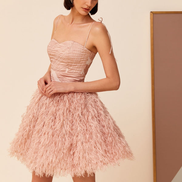 PINK FEATHER MINI DRESS