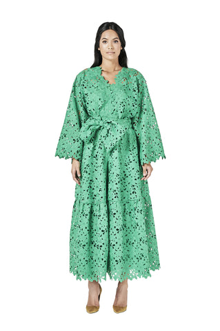 Green Lace Crochet Midi Kaftan