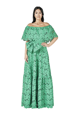 Green Lace Crochet Off Shoulder Dress Maxi