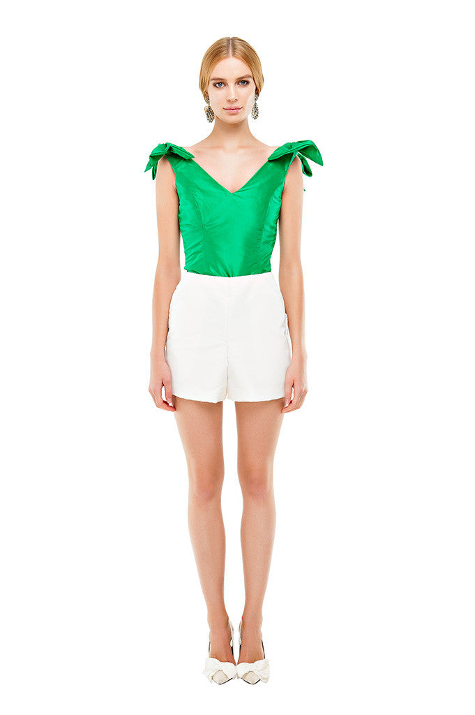 Green Kelly Shoulder Bow Top