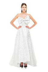 Silver Slanted Bow Gown