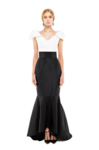 Black & White Faille Bow Gown