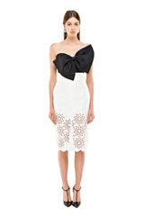 White Cut Out Pencil Skirt