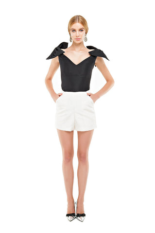 White Faille High Waist Shorts