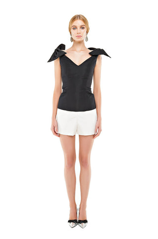 Black Faille Shoulder Bow Top