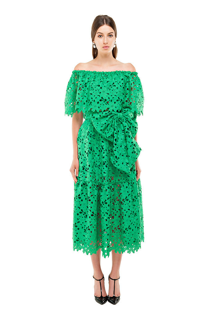 78a824abd04c61 Green Lace Off Shoulder Dress – Bambah