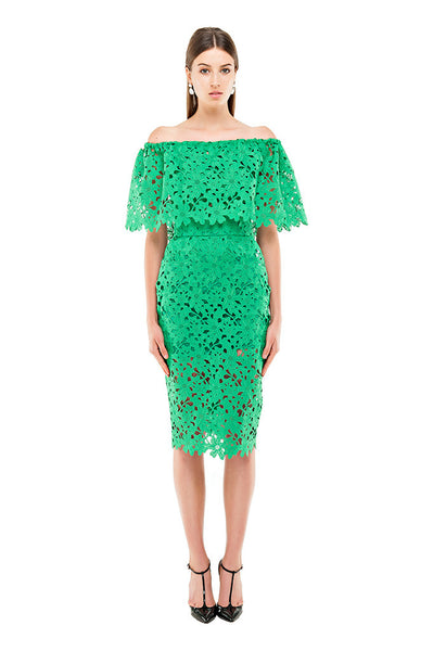 Green Lace Pencil Skirt