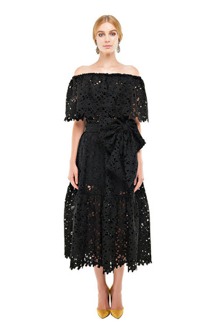 Black Lace Off Shoulder Dress