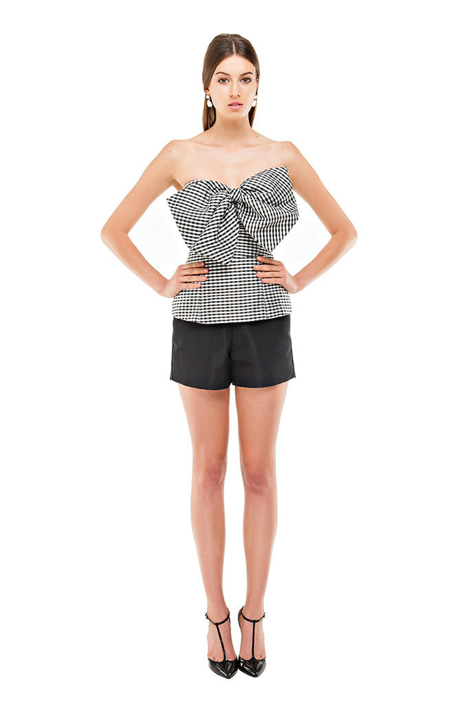 Gingham Slanted Bow Top