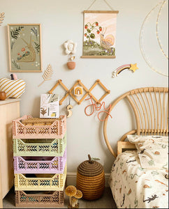 childs room featuring wildlings interiors prints, magical snails and whimsical mushrooms