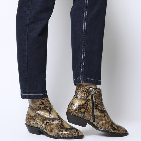 OFFICE Womens Addition Low Cut Snake Boots
