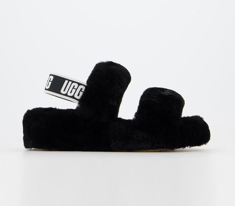UGG Fluff Yeah Black Slippers at OFFCUTS Shoes by OFFICE