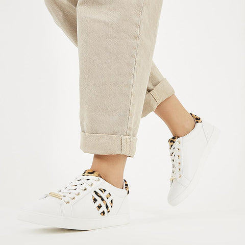 OFFICE Womens Front Row Leopard Mix Trainers