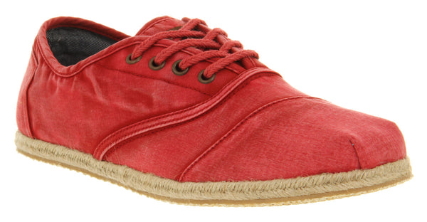 Mens Toms Cordonnes Jute Sole Red Washed