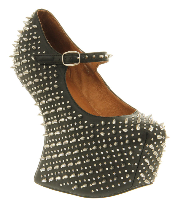 Womens Jeffery Campbell Prickly Wedge Black Leather Uk Size 3