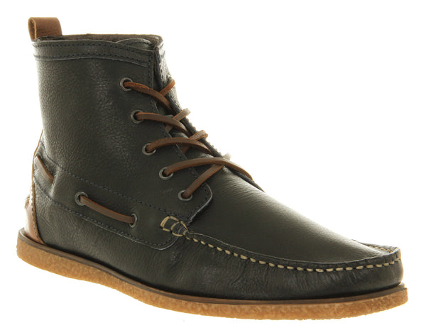 Mens Office Flint Lace Boot Navy Tan Leather