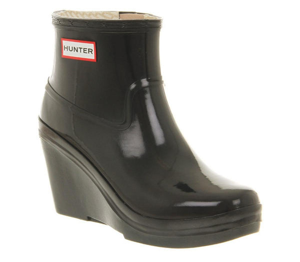 Womens Hunter Aston Wedge Welly Navy