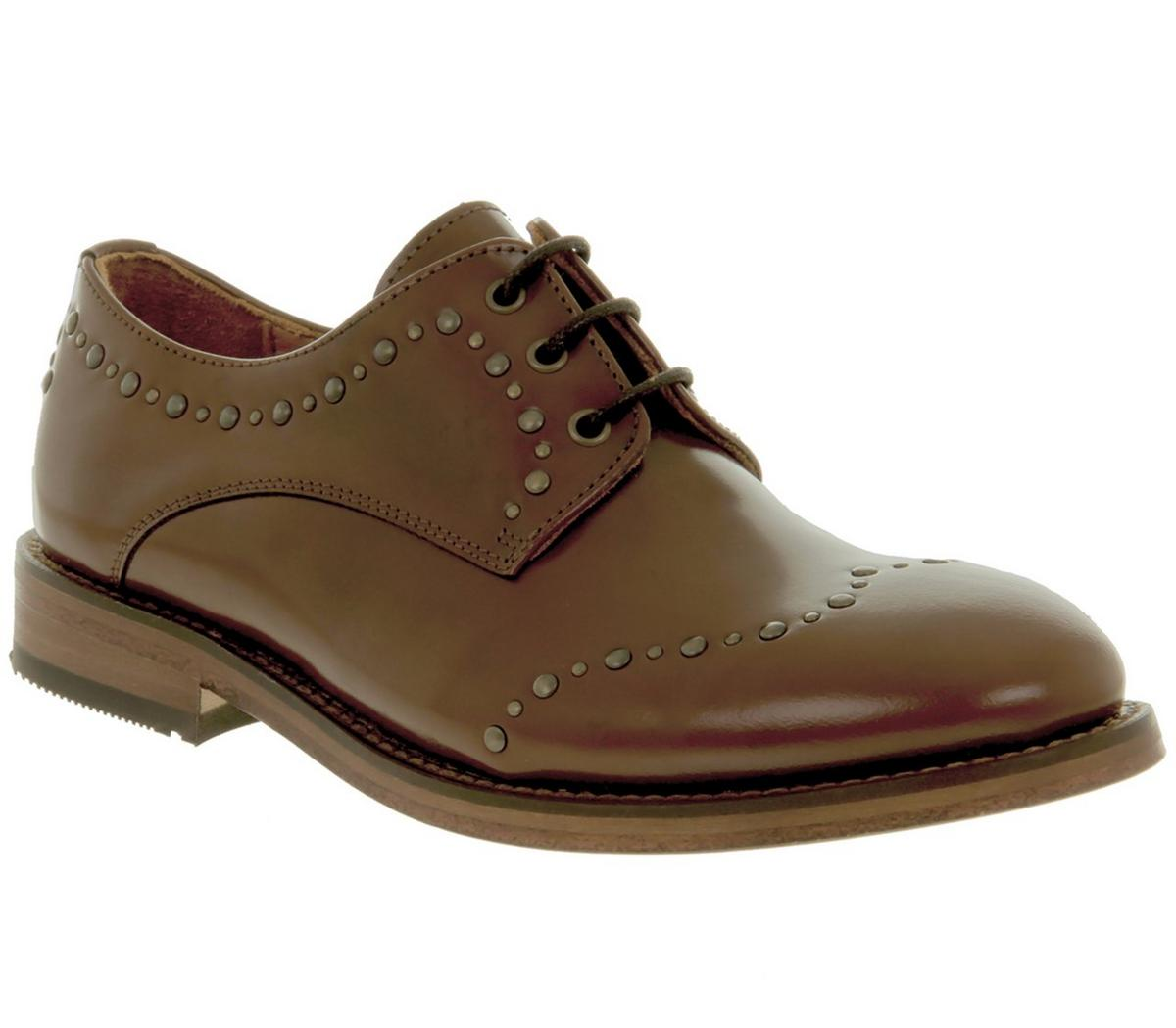 Womens Hudson Arquette Stud Wing Tip Tan Leather
