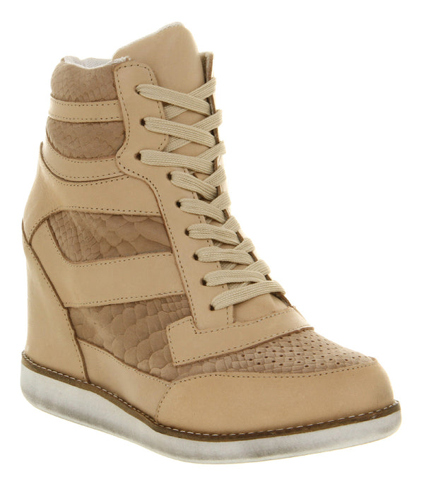 Womens Jeffery Campbell Napoles Wedge Trainer Nude Suede White Sole