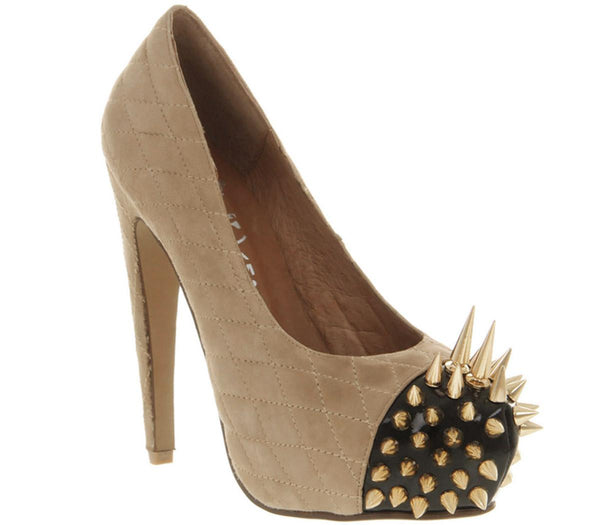 Womens Jeffery Campbell Battle Spike High Heel Nude Sde Gold Spikes