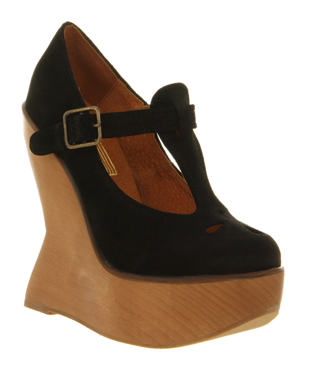 Womens Jeffery Campbell Louisa Wedge Black Sde Natural Heel